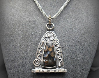 Gothic Arch Window Metalwork Pendant with Agatized Toredo Wood Stone Cabochon
