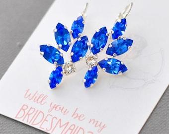 Sapphire Bridesmaids Earrings Silver Wedding Jewelry Swarovski Crystal Sapphire Leverback Marquise Drop Cluster Earrings Wedding Jewelry
