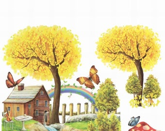 Cottage by the River Large Tattoo Sheet - 1 Pc
