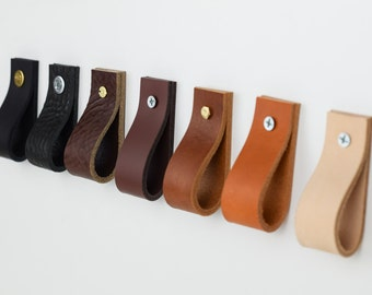 leather drawer pulls, leather pulls, leather cabinet pull, leather dresser pull, kitchen handle, leather handles, cabinet pulls, veg tanned
