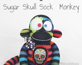 CUSTOMIZABLE Sugar Skull Sock Monkey Doll - YOUR CHOICE of Embroidered Name