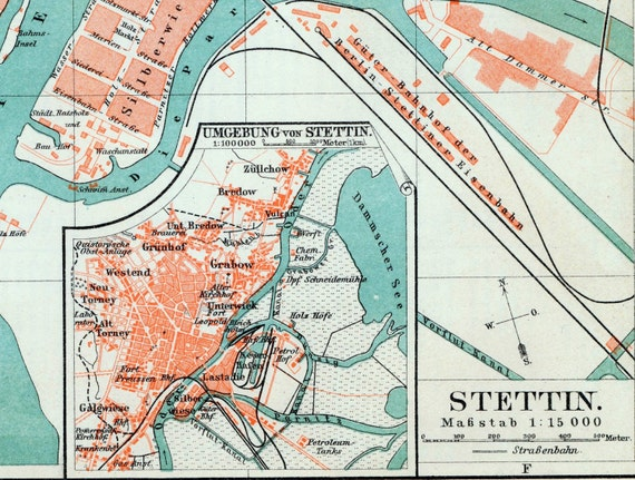 1895 Vintage Map of Szczecin or Stettin Poland Vintage City