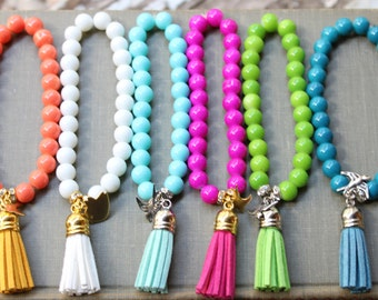 Bright, Neon Spring, Summer Tassel Beaded Bracelets