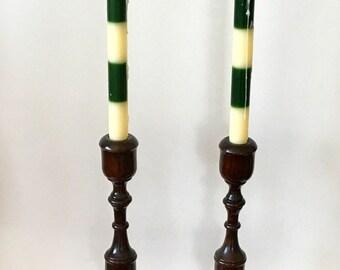 Vintage Hand Turned Pine Candlesticks
