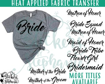 IRON On v97-Mb Master Wedding Bridal Party Heat Applied T-Shirt Fabric Transfer *Specify Color Choice in Notes or BLACK Vinyl