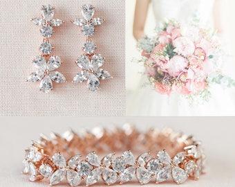 Rose Gold Bridal Earrings, Wedding Bracelet, Crystal Bridal Earrings, Flower, Bridal Jewelry SET, Bridal Bracelet, Savannah Bridal Jewelry