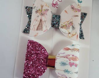 Boho Bows, Fox Hair Bow, Set of Bows, Arrows Hair Clip, Glitter Bows, Cute Girls Clips, Bows For Girls, Baby Headbands, Native Indian Bow