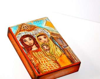 Golden Stars Nativity - Aceo Giclee print mounted on Wood (2.5 x 3.5 inches) Folk Art  by FLOR LARIOS