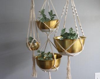 Boho Hanging Planters-Macrame-Rope-Hanging Pots-Modern Plant