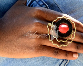 Red statement Brass Ring,African Red Brass ring,African Jewelry