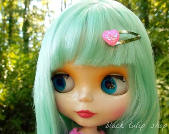 Hair Accessory For Dolls Mermaid Hair Clip Blythe Pullip Pastel Pink Heart Hair Clip