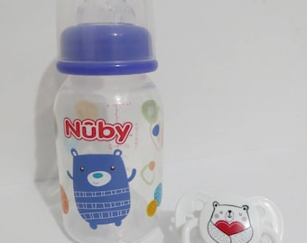 Reborn Doll  Bottle + Baby Alive Snackin Luke Bottle -5oz Fake Milk Nuby Bear Design.  Use Drop Down Menu for Choices.   Ages 8 Yrs +OOAK