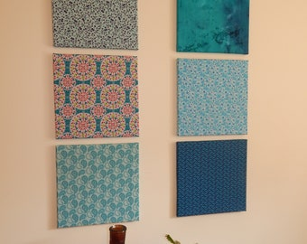 Set of 6 Colorful Fabric Frames that will brighten the Spring and Summer in your Home