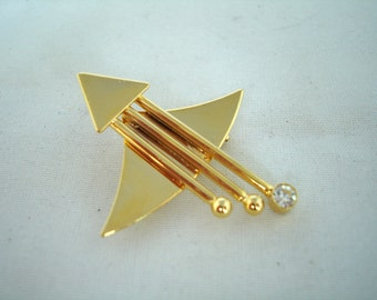 Vintage Brooch - Pin - Arrow with Wings- Gold Metal - Fashion Jewelry -  Tiny Crystal Bead - Gift idea