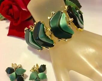 Green Thermoset Lucite Floral Link Bracelet & Earrings | Vintage Retro 1960's | Demi Parure Set | Gorgeous Condition | Jewelry