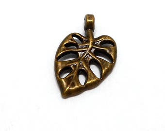 Small charms leaf color bronze