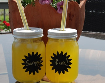 Set of 2 Summer Mason Jar Tumblers with Chalkboard Sun Label and Reusable Straws