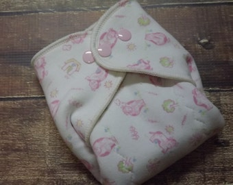 Organic Cotton Winged Prefold Cloth Diaper Pink Cows Sized