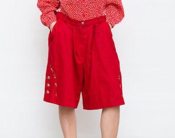 Vintage Red Women Wool Shorts, Alphorn Shorts, Trachtenmode Shorts, Large Size Shorts, Dirndl Shorts, Retro Alpen Shorts