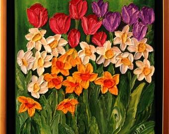Oil Painting -Dancing Daffodils , Impasto ART by Trupti Vakharia