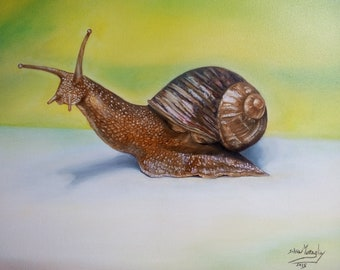 Oil on canvas, hand painted, animals, realism, snail