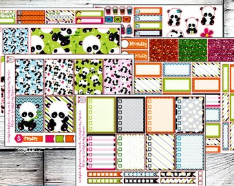 NEW! Playful Panda Deluxe Planner Sticker Kit -- Perfect for any vertical planner!