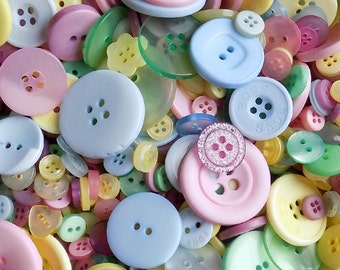 50 Pastel Buttons - Mixed Button Sizes - Sewing Buttons - #DSP-00008