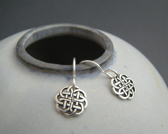 tiny celtic circle earrings. small sterling silver dangle. black silver oxidized. celtic knot everyday leverback simple jewelry gift for her