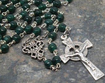 Gemstone Rosary of Dark Green Agate; Celtic Rosary; 5 Decade Rosary; Shamrock Rosary; Catholic Rosary; Ornate Rosary