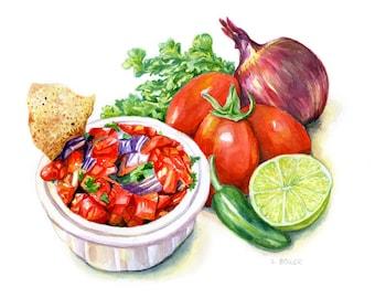 Watercolor Print /  Salsa / 8 x 10 / Watercolor Food Illustration