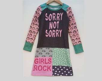 Size 6+ girls dress, sorry not sorry, cute, mint, long sleeve dress, upcycled dress, kids clothing, children's clothing, handmade, upcycling
