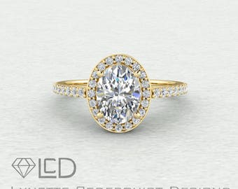The Madison Halo 1 carat Oval Forever One Moissanite and Conflict Free Diamonds