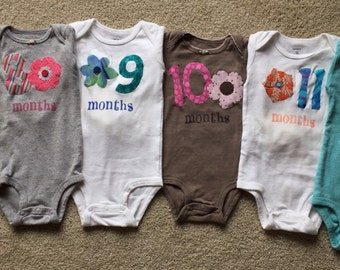 Girls Floral Month-by-Month Bodysuits (Months 1-12)