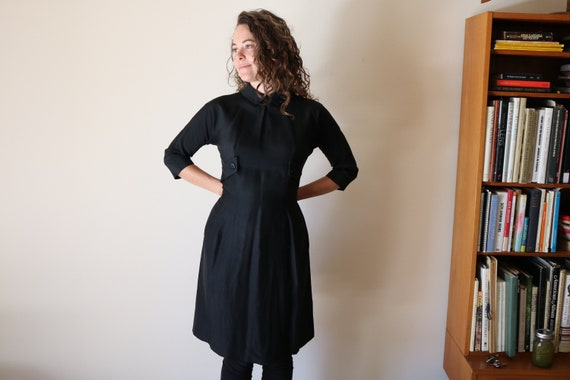 True 40s Dress | s/m 1940s vintage button up collar shirt day dress dolman sleeve flared skirt structure pin up BLACK small medium women