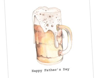 Beer Fathers Day Embellished Card taken from an Original Watercolour