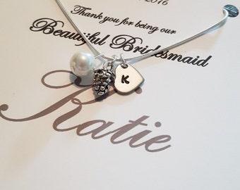 Bridesmaid gift, Bridesmaid necklace, Bridesmaid, Wedding jewelry, Bridesmaid jewellery, Gift for bridesmaid, bridesmaid initial necklace