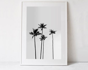 Palm Tree Print, Tropical Print, Palm Tree Photo, Tropical Wall Art PRINTABLE Art Photography DIGITAL DOWNLOAD Black and White Palm Tree Art