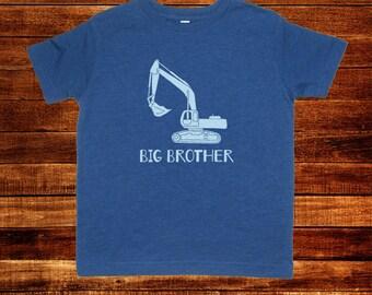 Big Brother Shirt - Kids Big Brother T Shirt - More Colors Available - Kids Big Brother Digger T shirt Sizes 2T, 3T, 4T, 5T, XS, S, M, L, XL