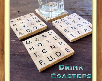 Desk Toy, Drink Coasters, Random Letters, Game Night, Game room, Bunco, Neighbor Gift, Coworker Gift, Housewarming Gift, Man Cave