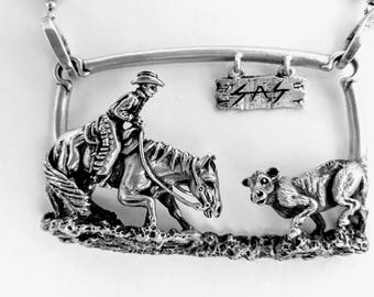Sterling Silver Cutting Horse wearable Sculpture
