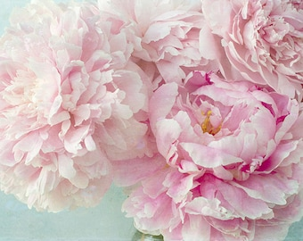 Peony Art Print, Flower Photography, Pink Floral Wall Art, Cottage Chic Decor
