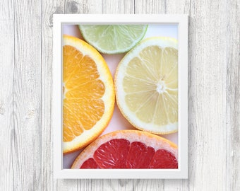 """Kitchen Art, Digital Download Photography, Citrus Art, Citrus Photo, Orange, Lemon, Lime, Grapefruit, Fruit, Foodie Gift, """"Slices of Citrus"""""""