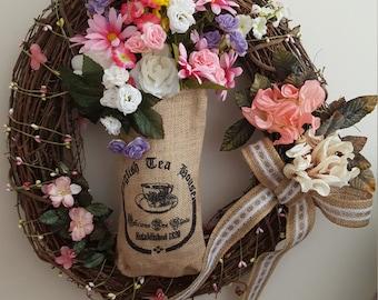 English Tea Wreath,Burlap English Tea Bag,English Tea Spring Wreath