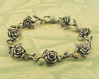 Rose Bracelet Silver Rose Jewelry Silver Flower Bracelet Flower Jewelry Sterling Rose Floral Bracelet Floral Jewelry Victorian Bracelet