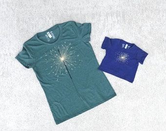 Mommy and Me July 4th Matching Shirts, Mother Daughter Summer Outfits, Sparkler Tshirt Set Clothing Gift, Green and Blue