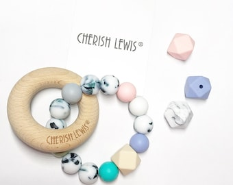 UK custom Silicone Teether Baby Bunny Wooden Toy Shower Gift-Cherish Lewis