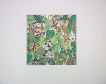 textile wall hanging - little hedgerow - textile art - textile wall art - textile print - kitchen wall art - fresh floral painting