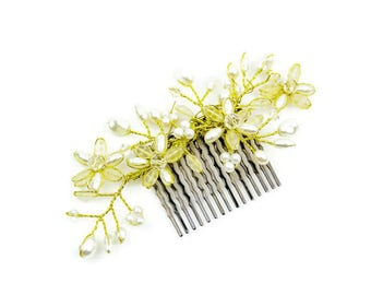 Bridal Hair Comb, Hair Comb, Pearl Hair c Comb, Gold and Ivory Comb, Wedding Hair Comb