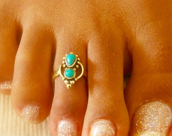 Brass Toe Ring - Adjusable Toe Ring - Gemstone Toe Ring - Turquoise Toe Ring - Foot Accessories - Foot Ring - Band Toe - Foot Jewelry (T39B)
