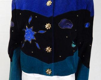 Unique Vintage 1980s Suede Cropped Jacket UK Size 14/16